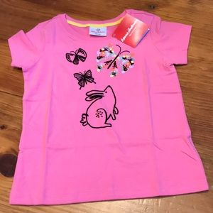 New! HANNA ANDERSSON 110 Pink Bunny Applique Tee